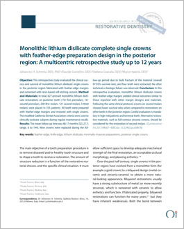 Monolithic lithium disilicate complete single crowns with feather-edge preparation design in the posterior region: A multicentric retrospective study up to 12 years